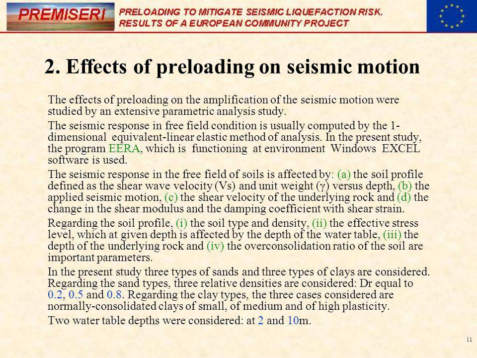 2. Effects of preloading on seismic motion