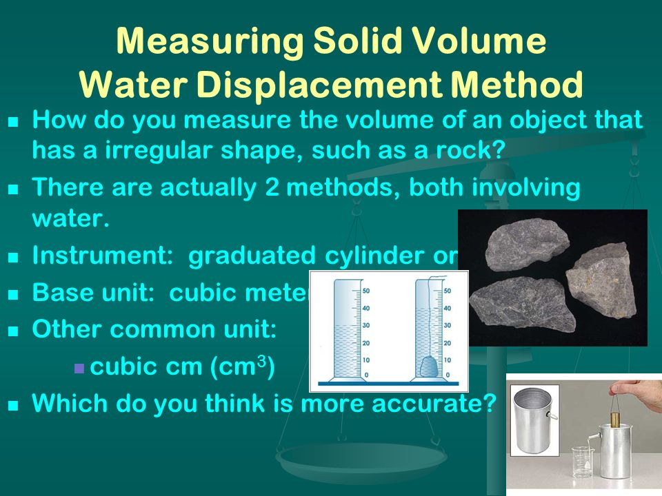 Measuring Solid Volume Water Displacement Method