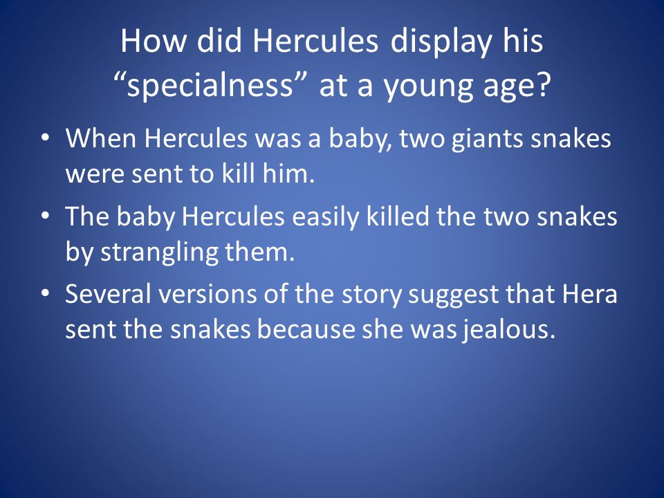 How did Hercules display his specialness at a young age