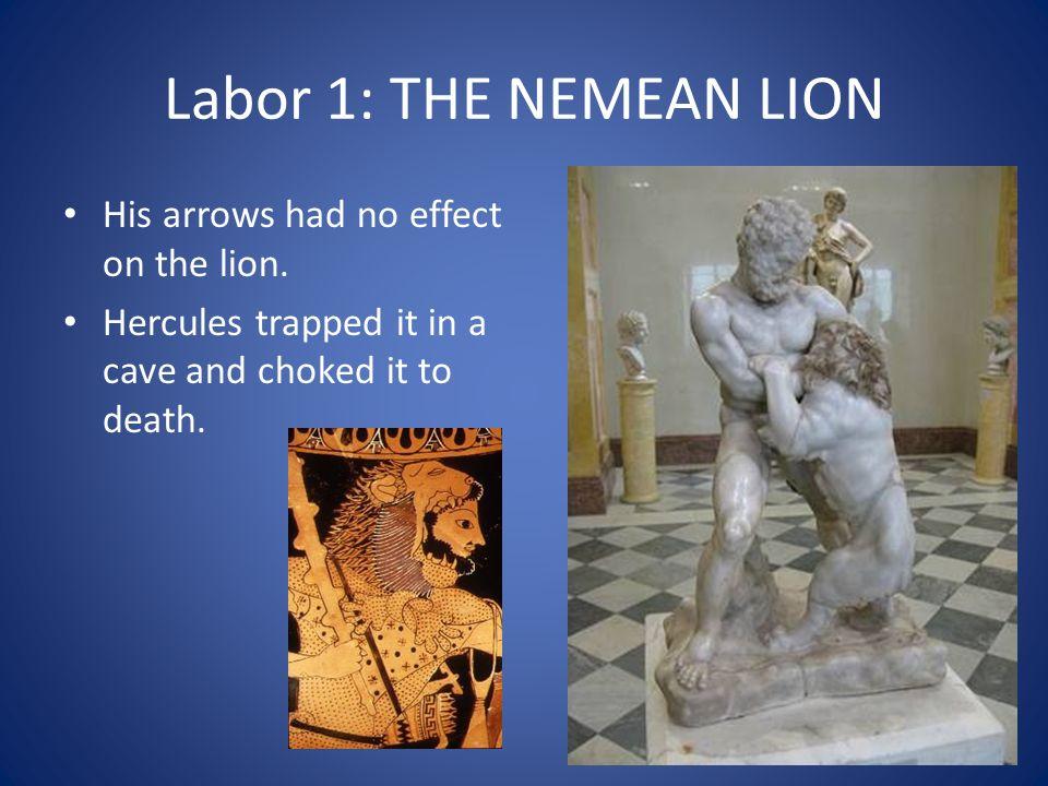Labor 1: THE NEMEAN LION His arrows had no effect on the lion.