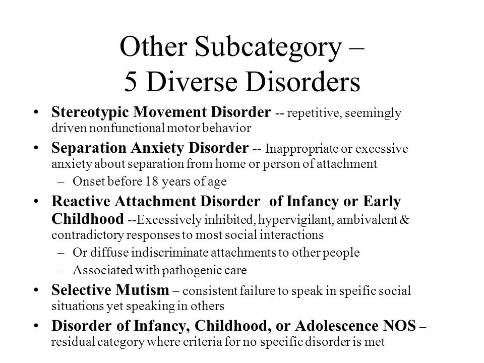Other Subcategory – 5 Diverse Disorders
