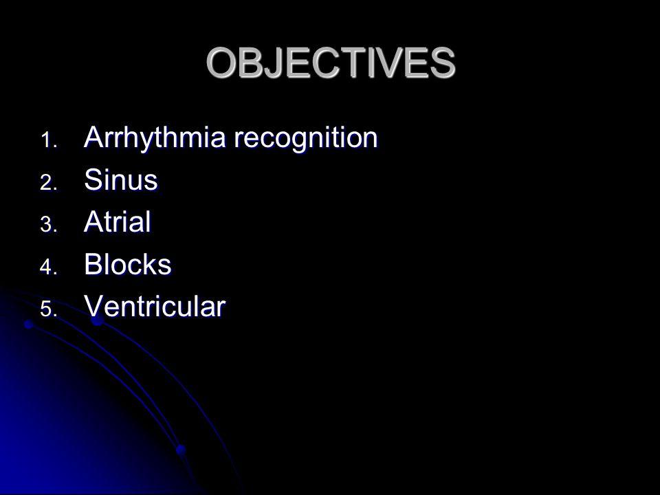 OBJECTIVES Arrhythmia recognition Sinus Atrial Blocks Ventricular