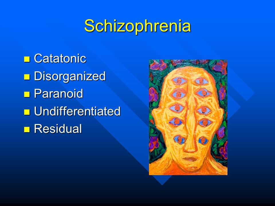 Schizophrenia Catatonic Disorganized Paranoid Undifferentiated