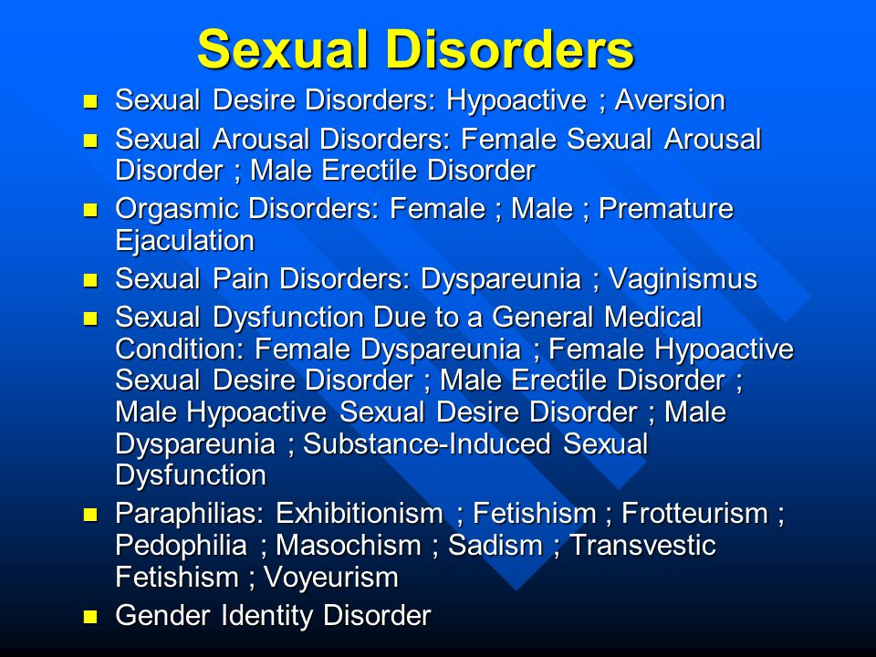 Sexual Disorders Sexual Desire Disorders: Hypoactive ; Aversion