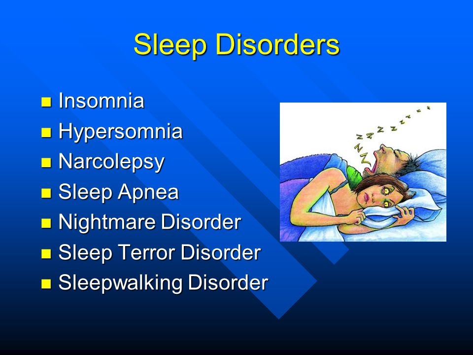 Sleep Disorders Insomnia Hypersomnia Narcolepsy Sleep Apnea
