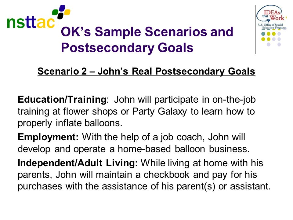 OK's Sample Scenarios and Postsecondary Goals