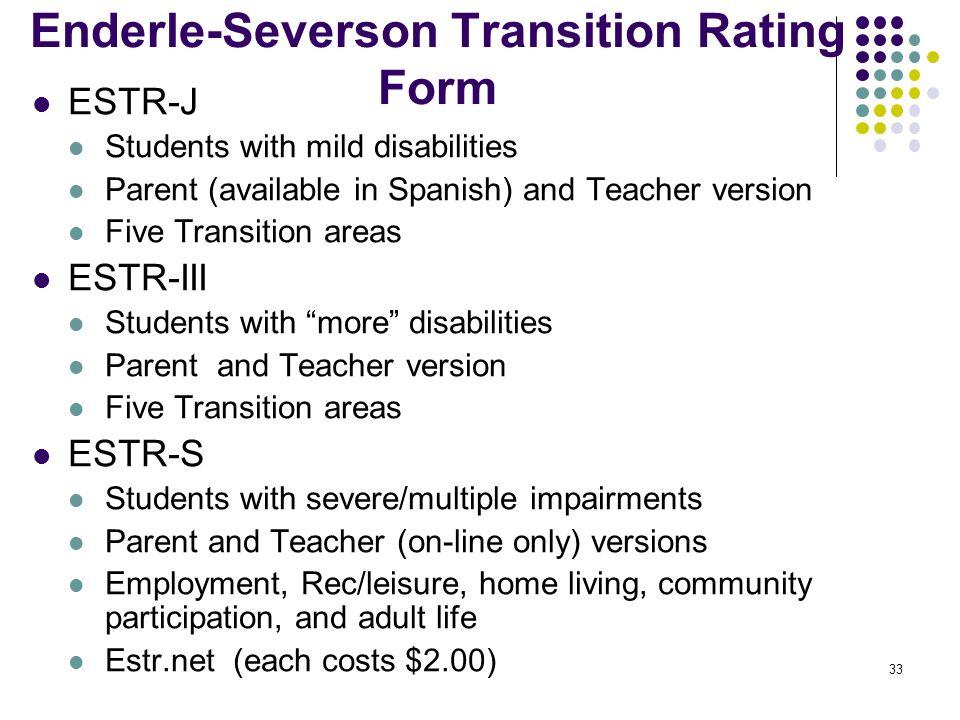 Enderle-Severson Transition Rating Form