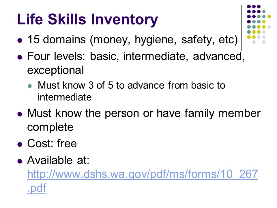 Life Skills Inventory 15 domains (money, hygiene, safety, etc)