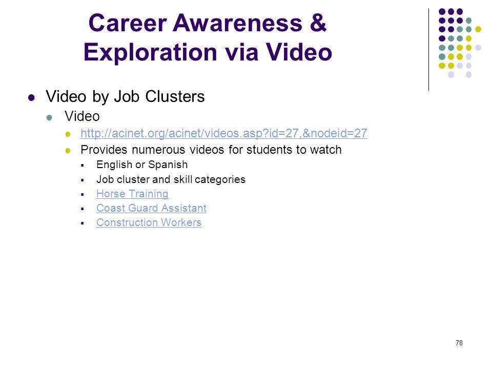 Career Awareness & Exploration via Video