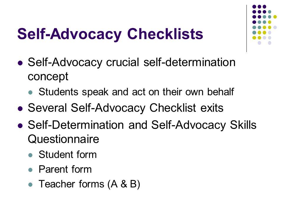 Self-Advocacy Checklists