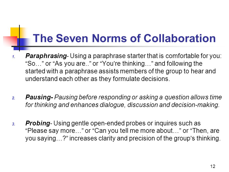 The Seven Norms of Collaboration