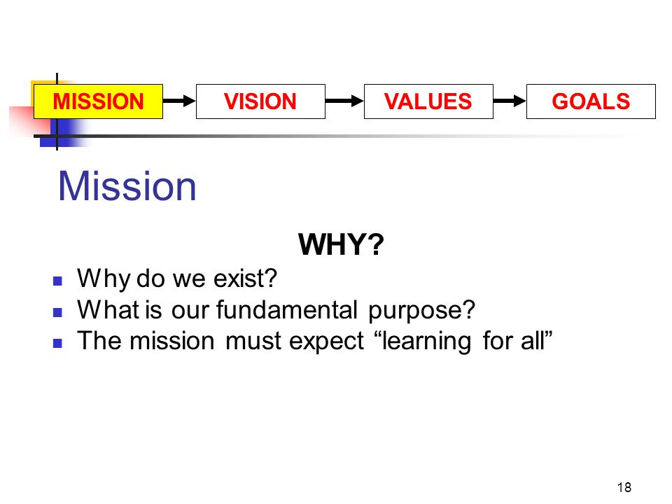 Mission WHY Why do we exist What is our fundamental purpose