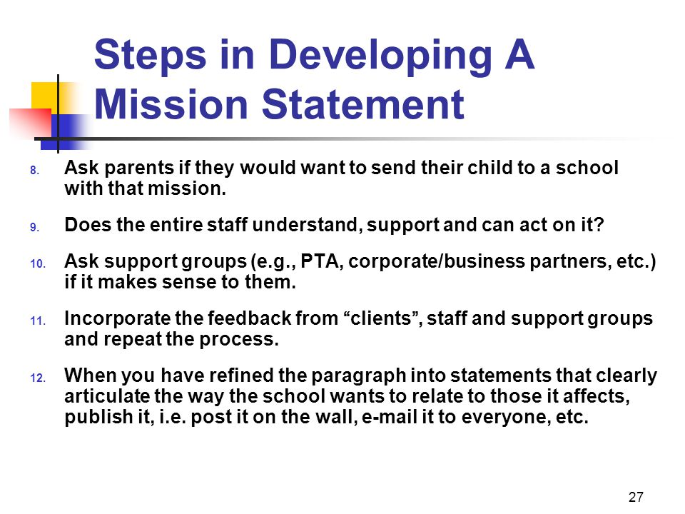 Steps in Developing A Mission Statement