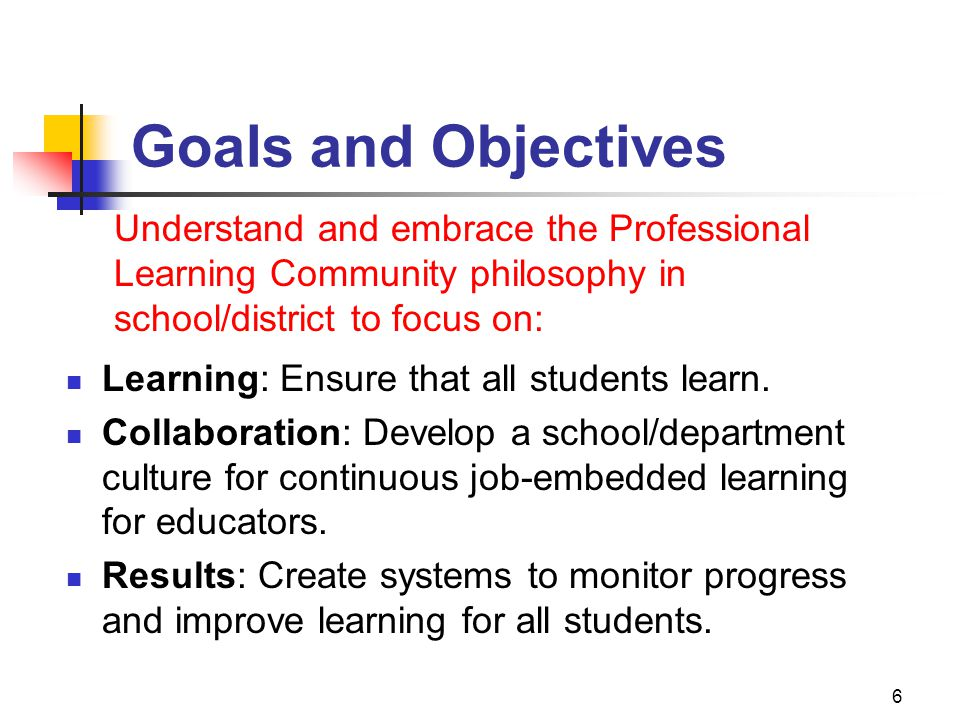 1/12/10 Goals and Objectives. Understand and embrace the Professional Learning Community philosophy in school/district to focus on: