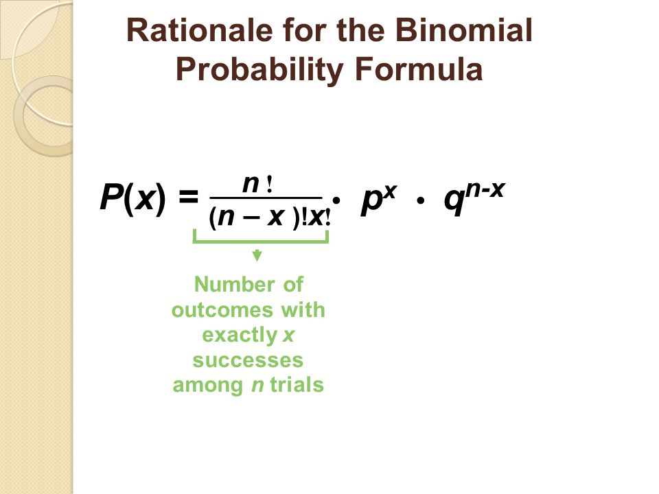 P(x) = • px • qn-x Rationale for the Binomial Probability Formula n !