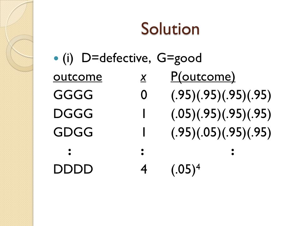 Solution (i) D=defective, G=good outcome x P(outcome)