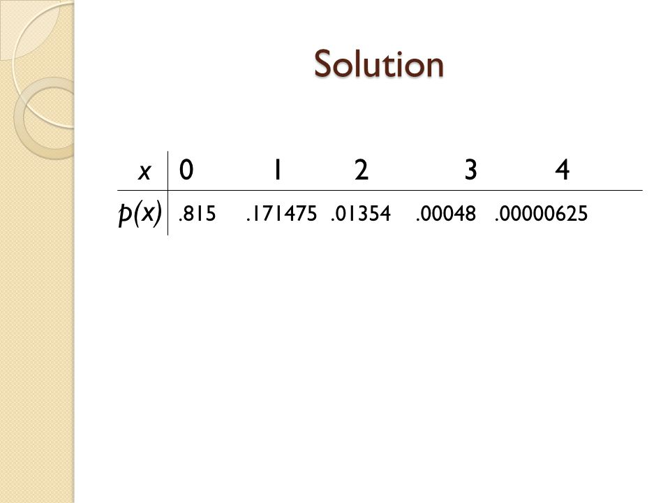 Solution x 0 1 2 3 4 p(x) .815 .171475 .01354 .00048 .00000625