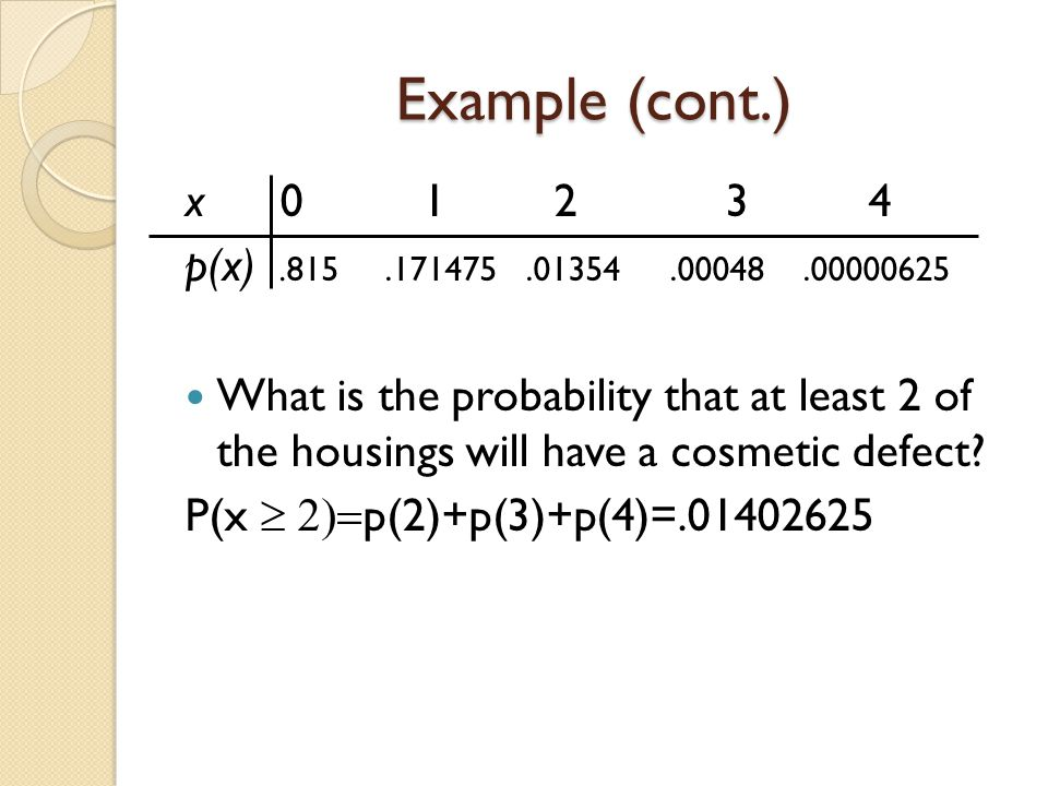 Example (cont.) x 0 1 2 3 4. p(x) .815 .171475 .01354 .00048 .00000625.