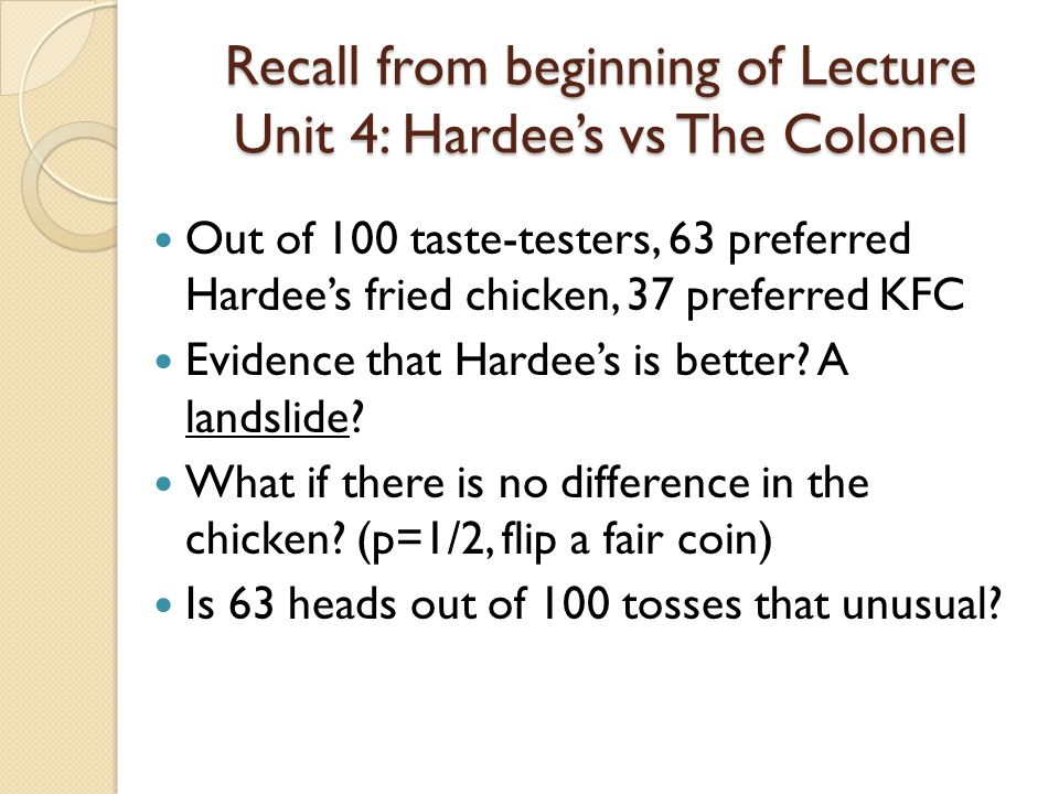 Recall from beginning of Lecture Unit 4: Hardee's vs The Colonel