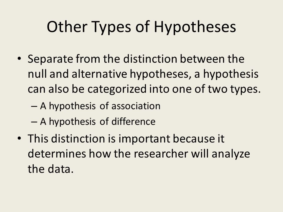 Other Types of Hypotheses