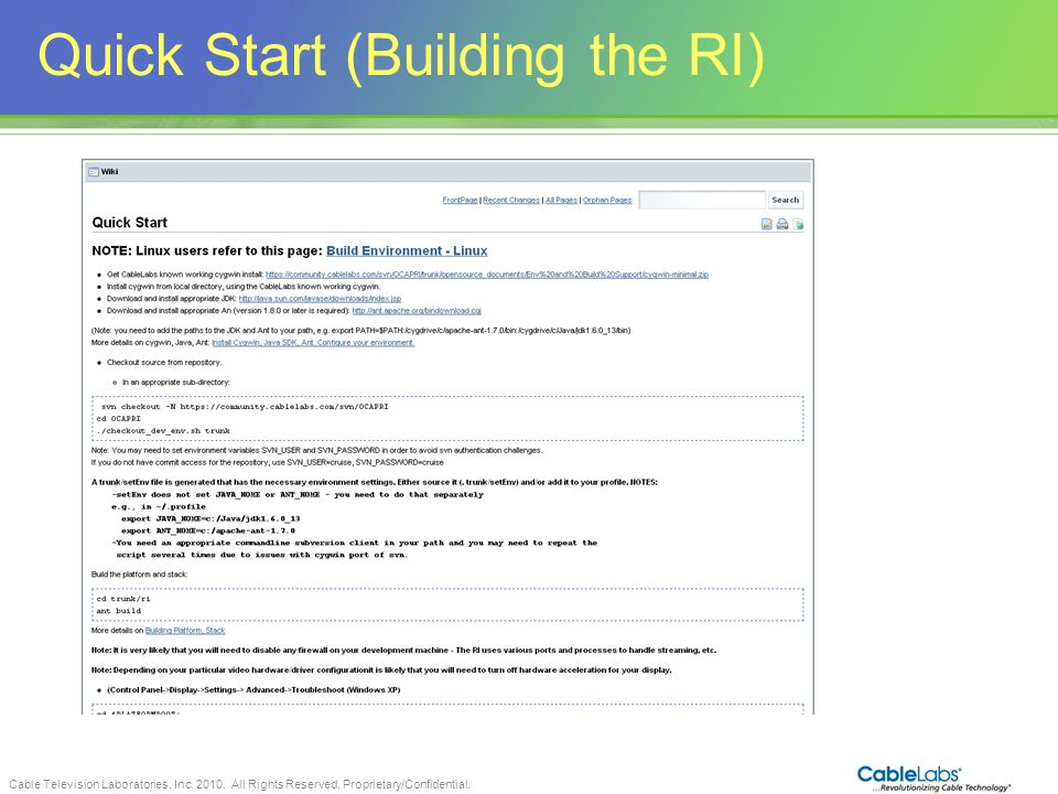 Quick Start (Building the RI)