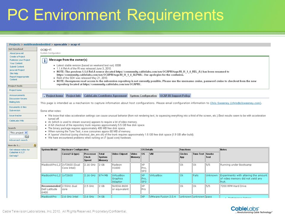 PC Environment Requirements