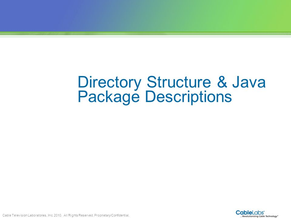 Directory Structure & Java Package Descriptions