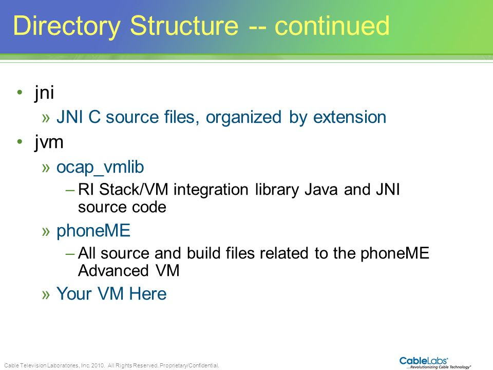 Directory Structure -- continued