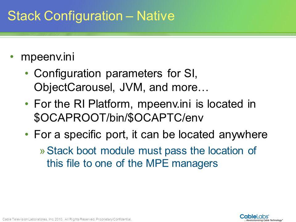 Stack Configuration – Native
