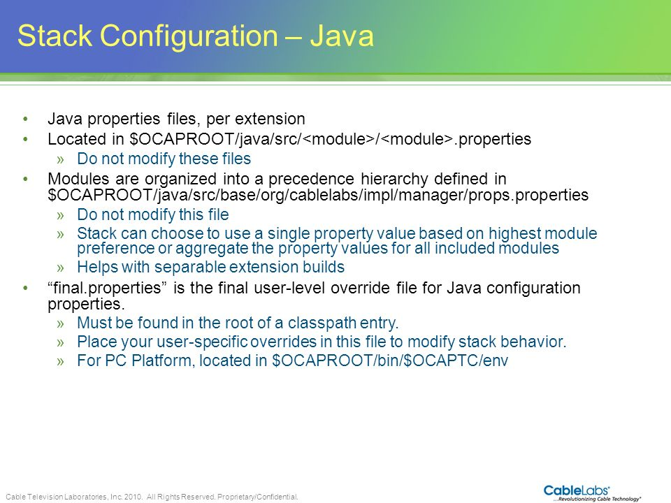 Stack Configuration – Java