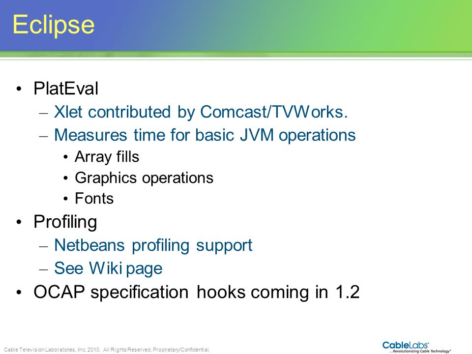 Eclipse PlatEval Profiling OCAP specification hooks coming in 1.2