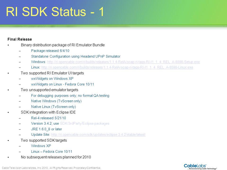 RI SDK Status - 1 82 Final Release
