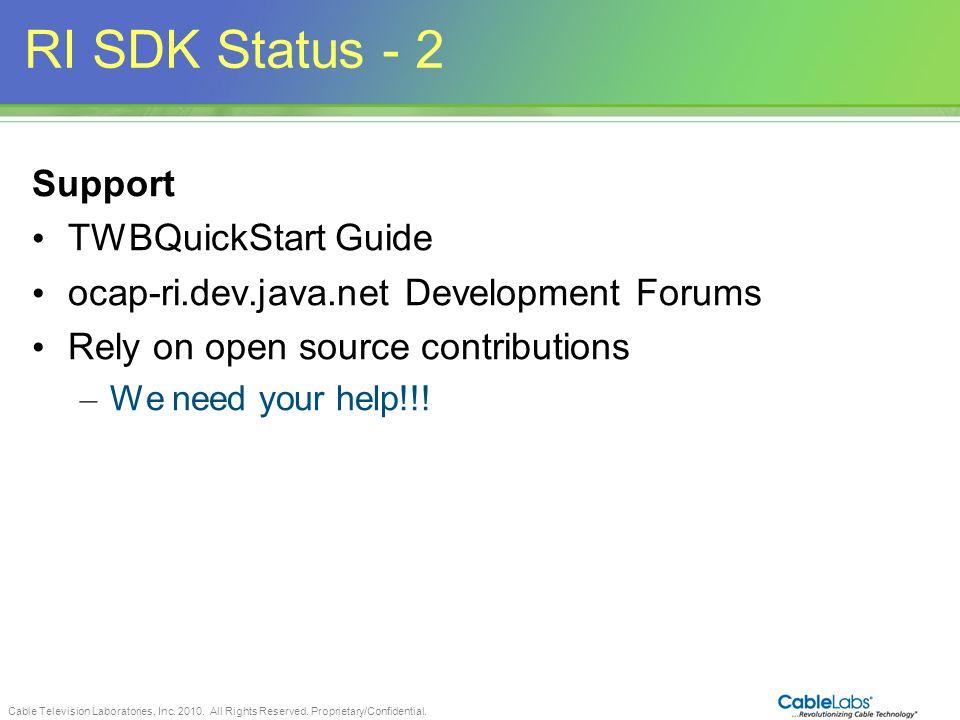 RI SDK Status - 2 Support TWBQuickStart Guide