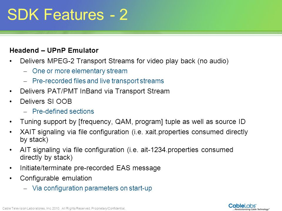 SDK Features - 2 88 Headend – UPnP Emulator