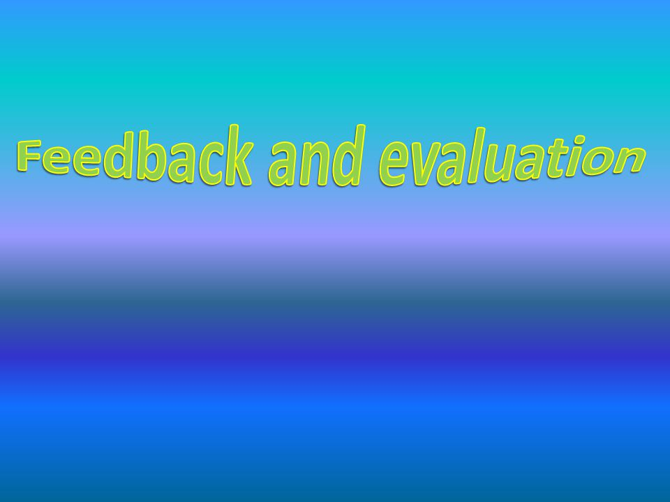 Feedback and evaluation