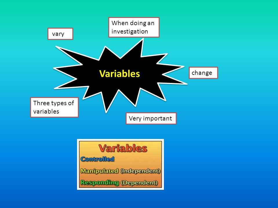 Variables When doing an investigation vary change