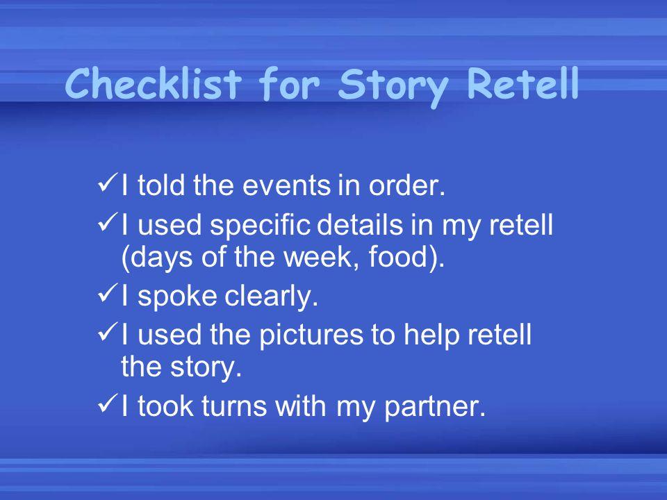Checklist for Story Retell