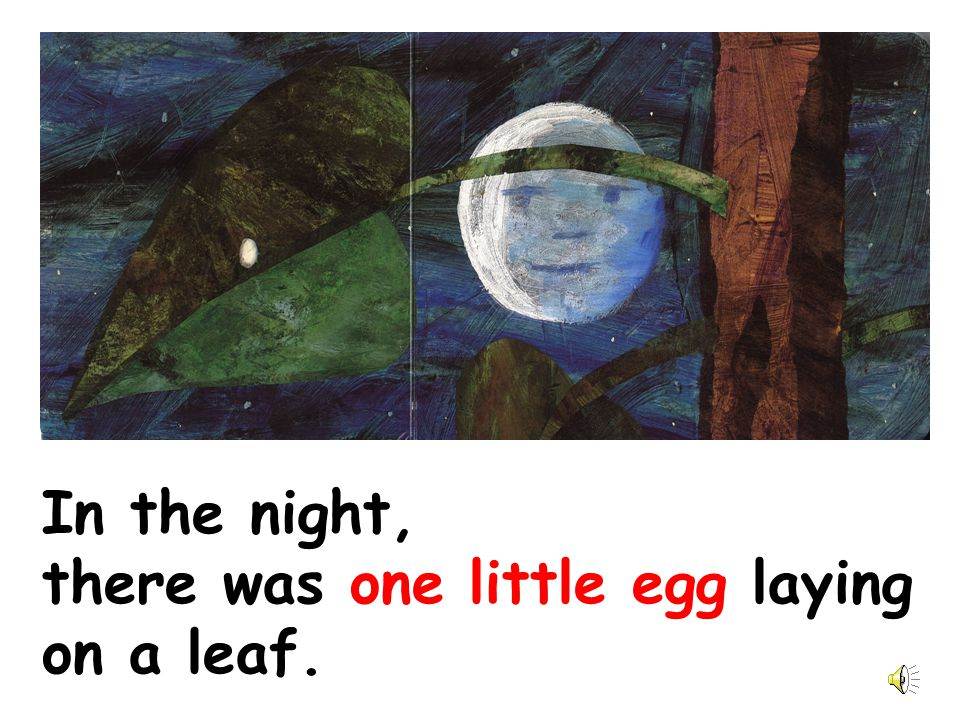 In the night, there was one little egg laying on a leaf.