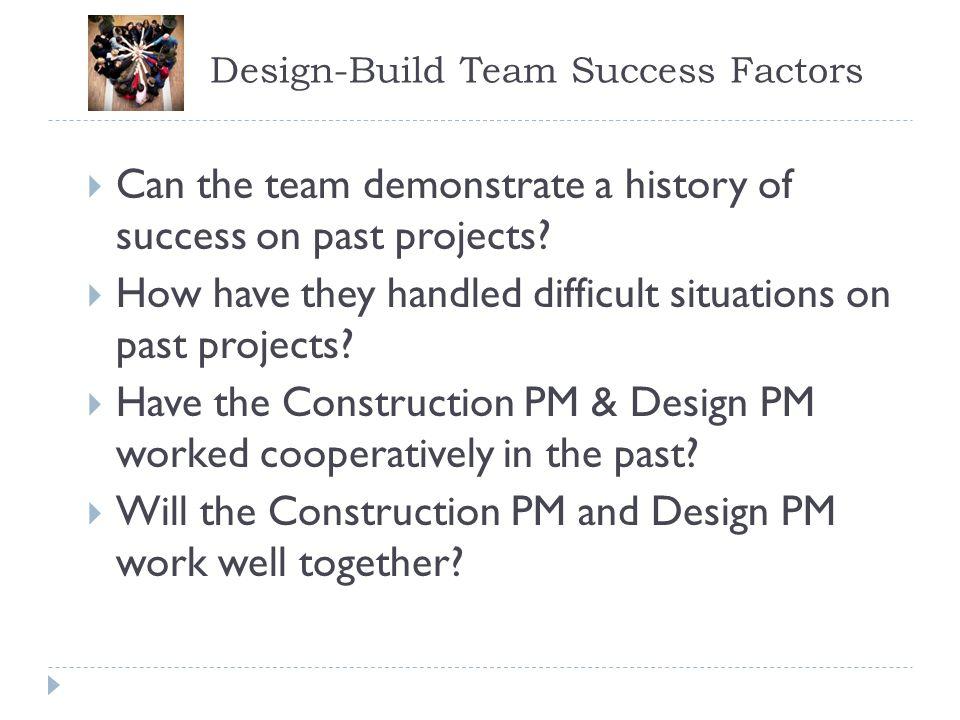 Design-Build Team Success Factors
