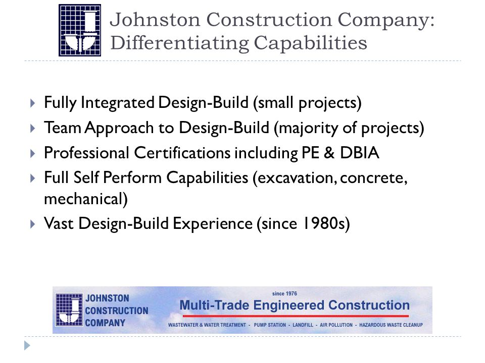 Johnston Construction Company: Differentiating Capabilities