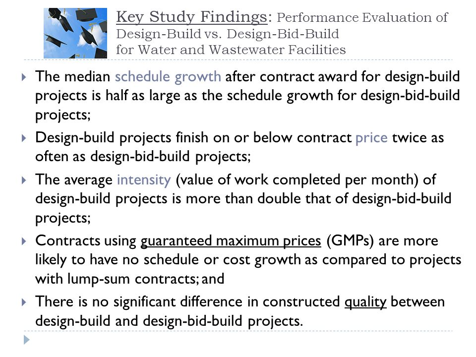 Key Study Findings: Performance Evaluation of Design-Build vs