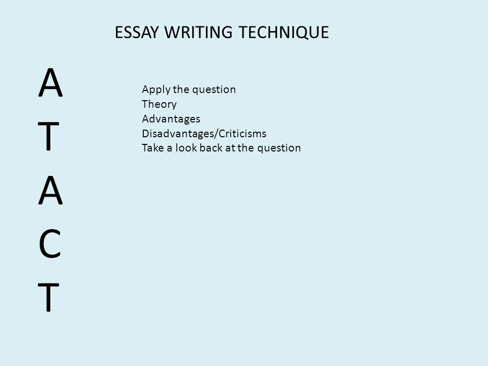 A T C ESSAY WRITING TECHNIQUE Apply the question Theory Advantages