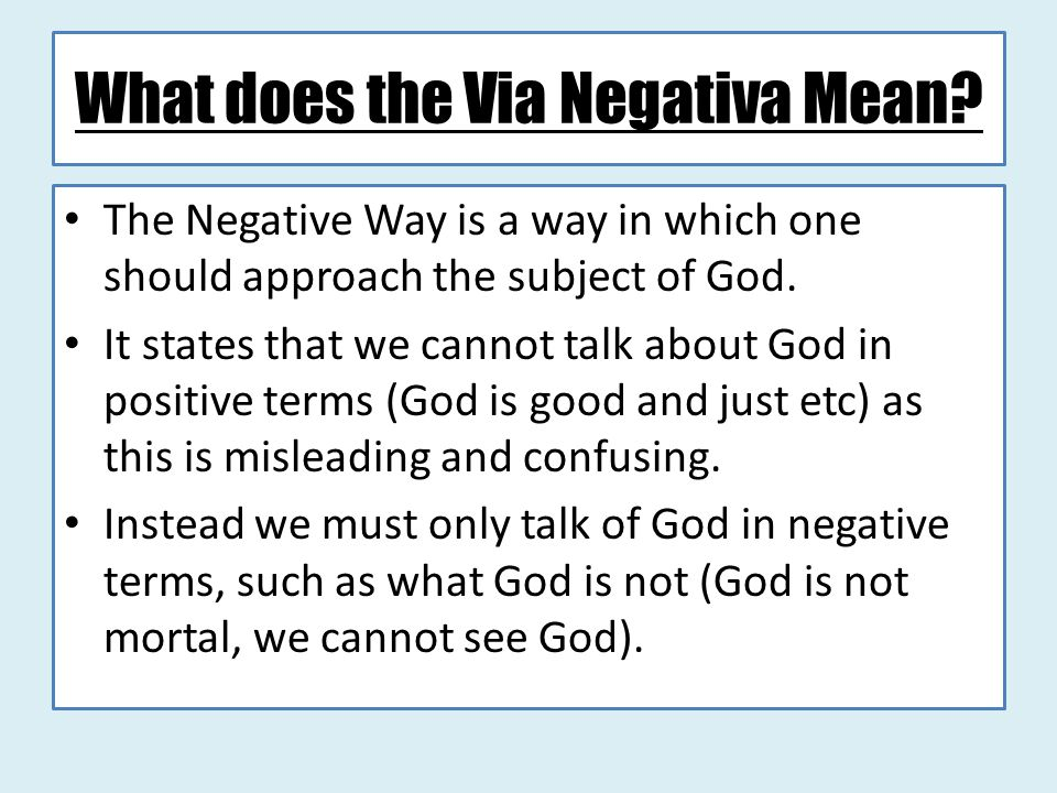 What does the Via Negativa Mean