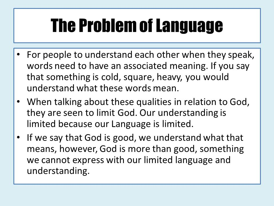 The Problem of Language