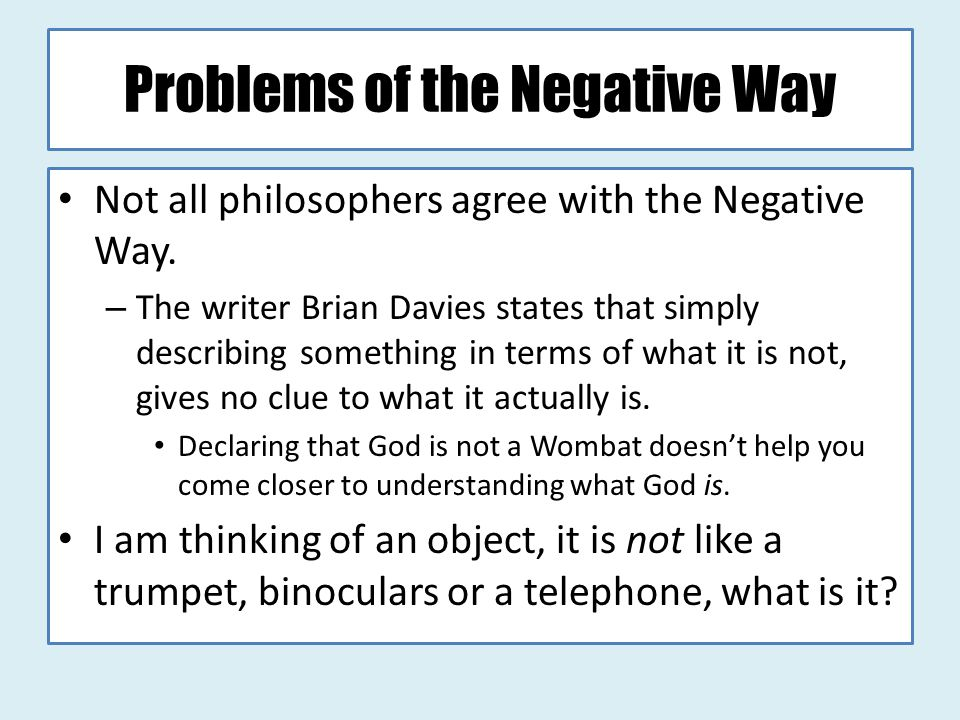 Problems of the Negative Way