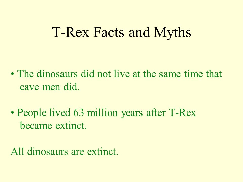 T-Rex Facts and Myths • The dinosaurs did not live at the same time that cave men did. • People lived 63 million years after T-Rex became extinct.