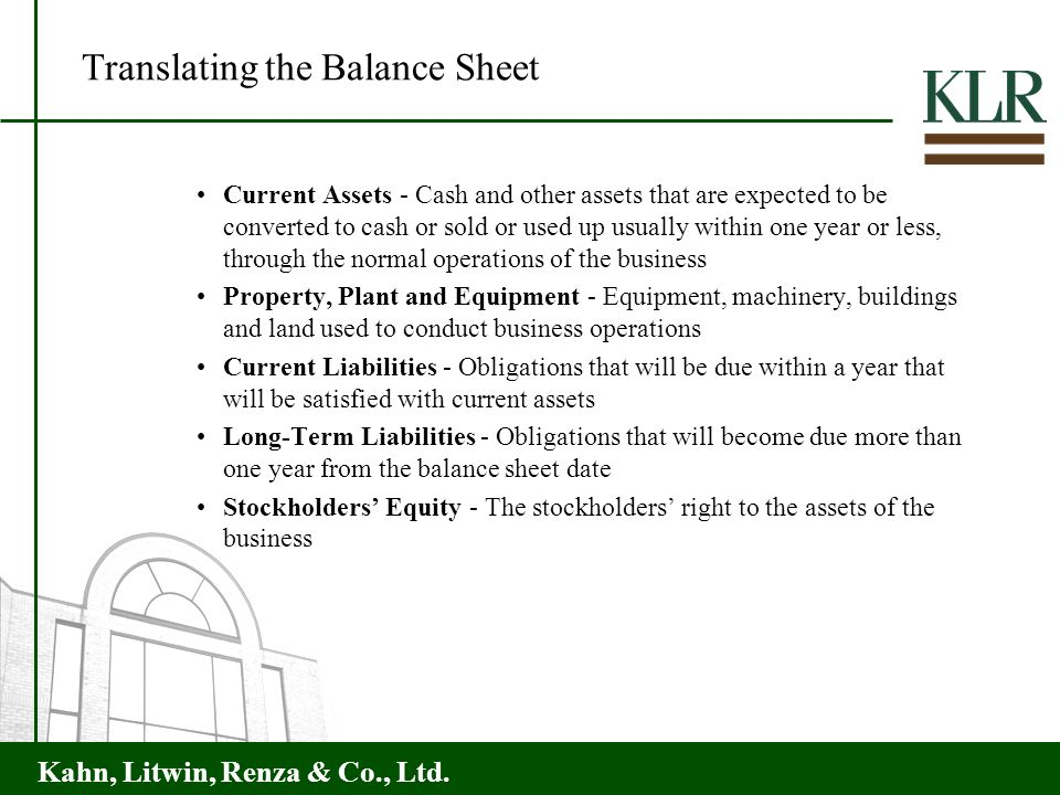 Translating the Balance Sheet