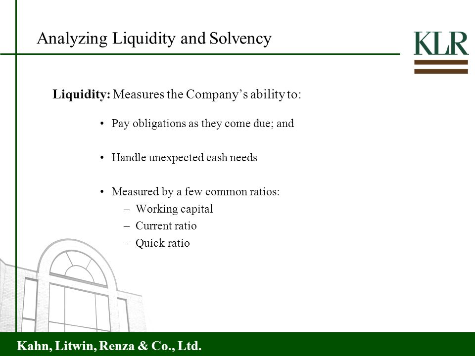 Analyzing Liquidity and Solvency