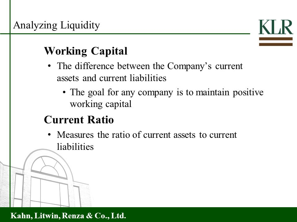 Working Capital Current Ratio Analyzing Liquidity