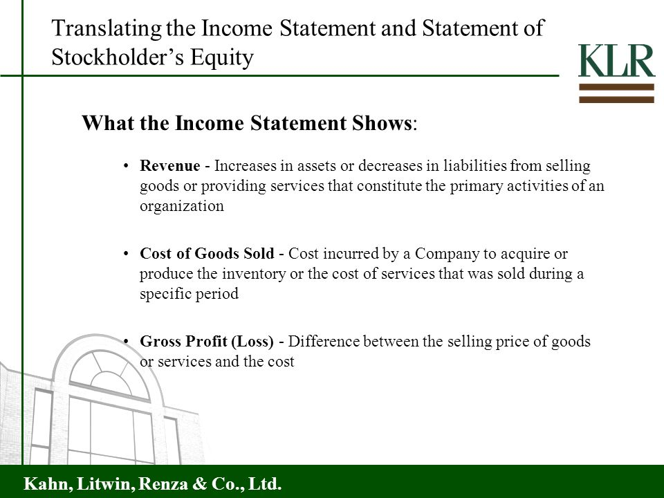Translating the Income Statement and Statement of Stockholder's Equity